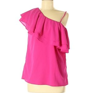 Hot Pink One Shoulder Ruffle Top - Large